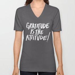 Gratitude is the Attitude (White on Black) Unisex V-Neck