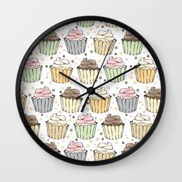 Cupcake Love Pattern -Food Pattern Wall Clock