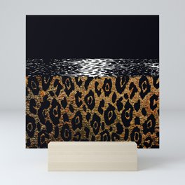 ANIMAL PRINT CHEETAH LEOPARD BLACK WHITE AND GOLDEN BROWN Mini Art Print