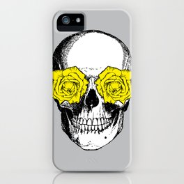 Skull and Roses | Grey and Yellow iPhone Case