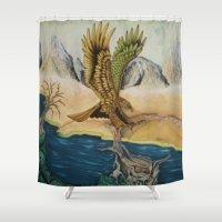 hawk Shower Curtains featuring Golden Hawk by Vincent Murphy