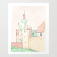 Magic Castle inpink and green Art Print