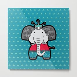 Doodle Elephant on Blue Background Metal Print