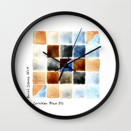 Color Chart - Burnt Sienna (W&N) and Cerulean Blue (DS) Wall Clock