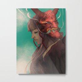 The Oni Mask Metal Print