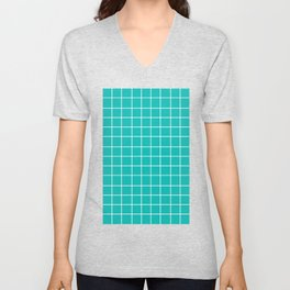 Grid (White/Eggshell Blue) Unisex V-Neck