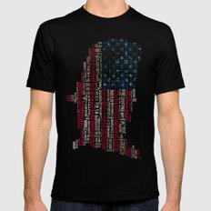 United States Flag Map With Major Cities Black MEDIUM Mens Fitted Tee