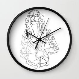"""Fashion Line Collection"" - Minimal Woman With Jacket Print Wall Clock"