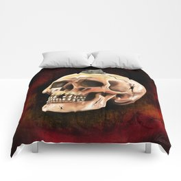 Cracked skull with mouse Comforters