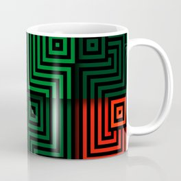 Red and green tiles with op art squares and corners Coffee Mug