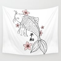 koi fish Wall Tapestries featuring Koi Fish by Anqi Wu