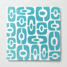Mid Century Modern Cosmic Abstract 231 Turquoise Blue Metal Print