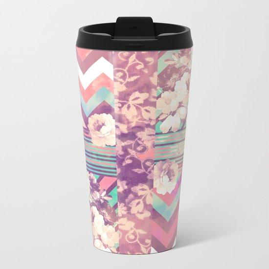 Retro Pink Turquoise Floral Stripe Chevron Pattern Metal Travel Mug