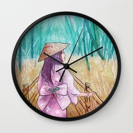Japanese bamboo forest watercolor painting Wall Clock
