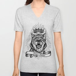 """""""Feast Or Famine"""" – Crowned Wolf Unisex V-Neck"""