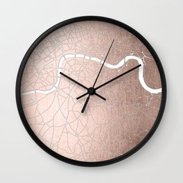 RoseGold on White London Street Map II Wall Clock