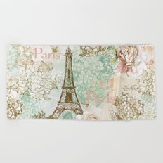 I love Paris- Vintage Shabby Chic - Eiffeltower France Flowers Floral Beach Towel