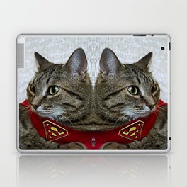 A portrait of a grey cat in a cape with a logo of Superman.  Laptop & iPad Skin
