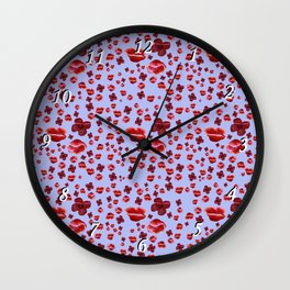 Red and purple Poppies Wall Clock