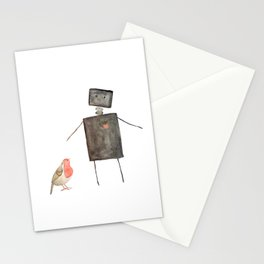 Robot and Bird Stationery Cards
