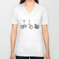 brompton V-neck T-shirts featuring Brompton Bicycle by Wyatt Design