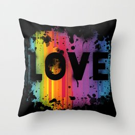 For Love - Black Background Throw Pillow