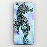 tatoo iPhone & iPod Skins featuring Tatoo Seahorse by PepperDsArt