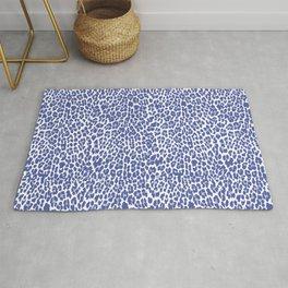 Blue Leopard Print Rug