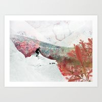 skiing Art Prints featuring Vintage Skiing by Pati Designs