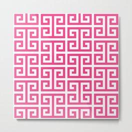 Large Pink and White Greek Key Pattern Metal Print