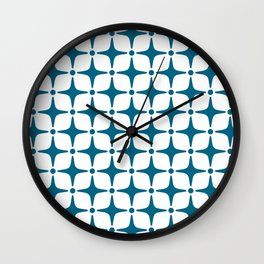 Mid Century Modern Star Pattern Peacock Blue Wall Clock