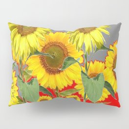 WESTERN STYLE  GREY-RED COLOR YELLOW SUNFLOWERS Pillow Sham
