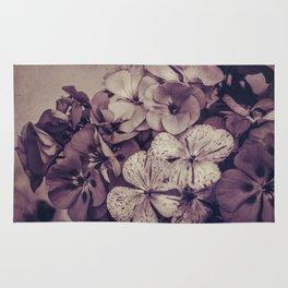 Geraniums -- Monochrome Floral in Aubergine Rug