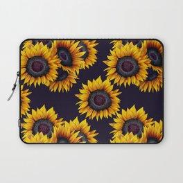 Sunflowers yellow navy blue elegant colorful pattern Laptop Sleeve