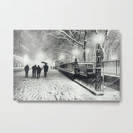 New York City Snow Bryant Park Metal Print