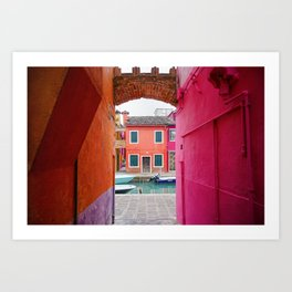 Colorful house in Burano. Venice, Italy Art Print