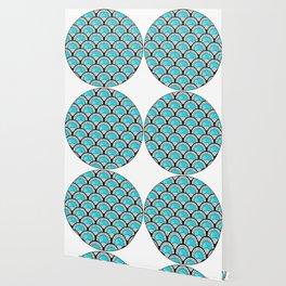 Aqua Art Deco Twenties Fan Pattern Wallpaper