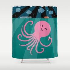 Octopus Selfie at Night Shower Curtain