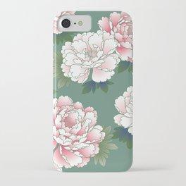 Japanese Vintage Pink Peonies Green Leaves Kimono Pattern iPhone Case