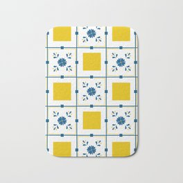 Talavera, blue and yellow flowers Bath Mat