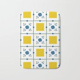 Talavera, blue and yellow flowers Bath Mat