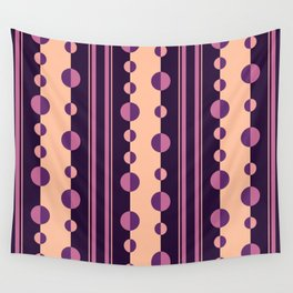 Circles and Stripes in Deep Purple and Pink Wall Tapestry
