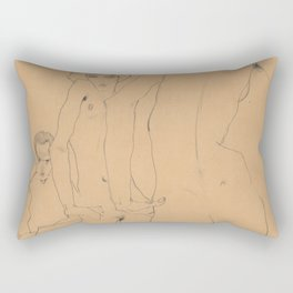Egon Schiele - Schiele with Nude Model before the Mirror Rectangular Pillow