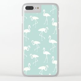 Flamingo Silhouettes, Pattern Of Flamingos - Blue Clear iPhone Case