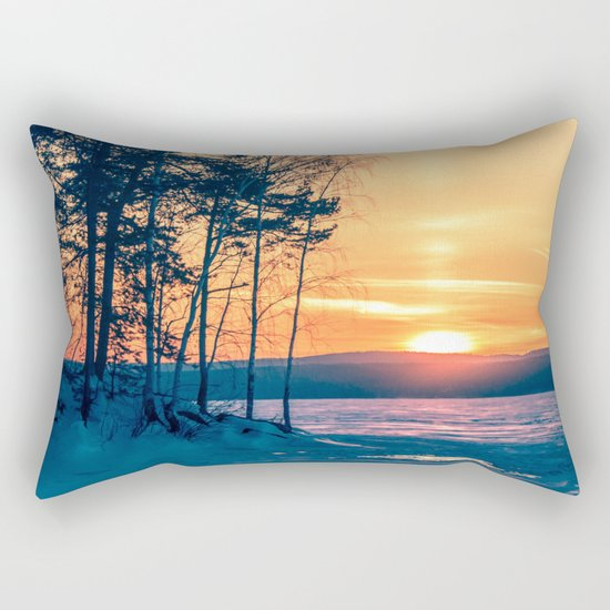 Winter sunset and the sun pillar Rectangular Pillow