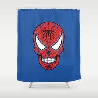 superheros Shower Curtains featuring Spidey Sugar Skull by Clark Street Press