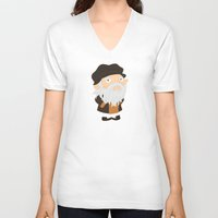 da vinci V-neck T-shirts featuring Leonardo da Vinci by Alapapaju