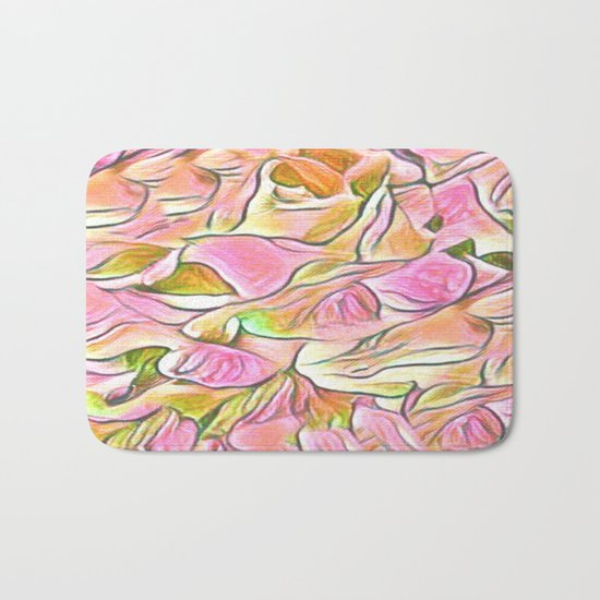 Flowing Soft Petal Abstract - Pink Bath Mat