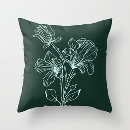 Magnolia Line Drawing Dark Green Throw Pillow