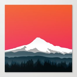 Mount Hood Winter Forest - Sunset Canvas Print